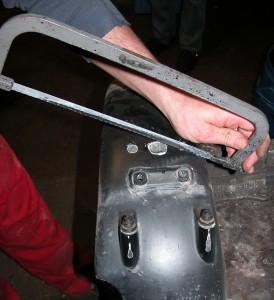 Der Kotflügel der R80GS / R100GS wird vom Kunden gekürzt