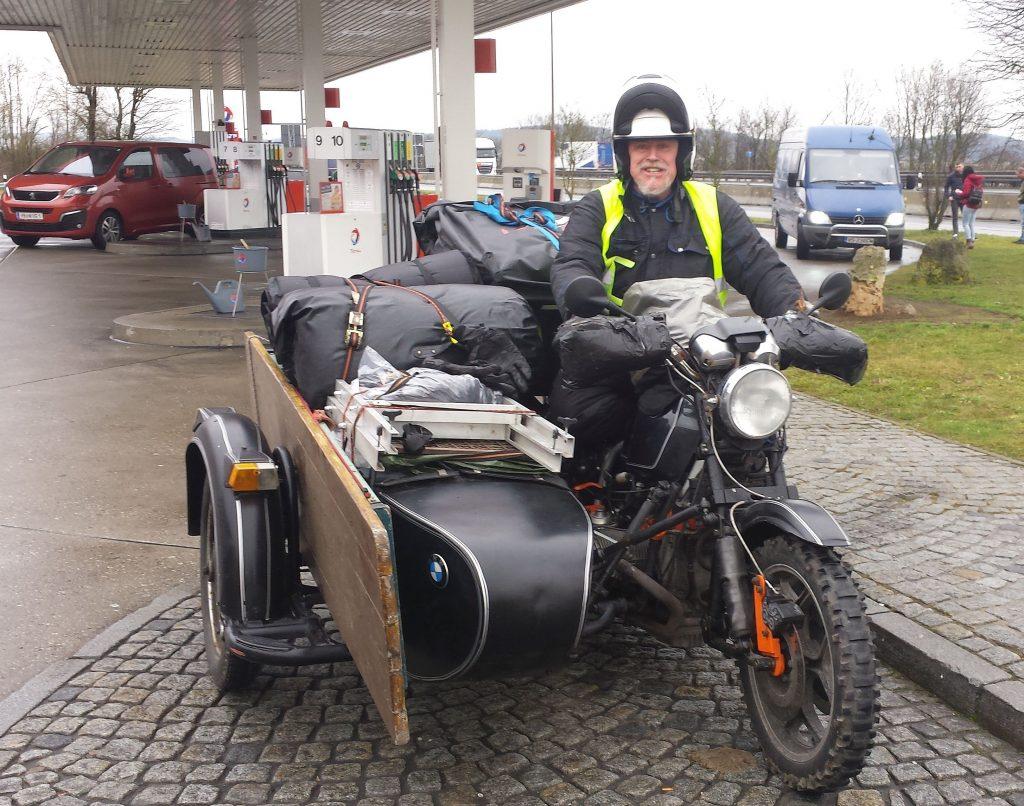 BMW Motorrad Gespann auf dem Weg zum Elefantentreffen